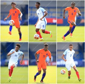A grid of stock pictures from England U19 vs. Netherlands U19