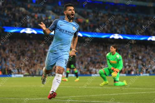 Sergio Aguero of Man City celebrates after completing his hat-trick