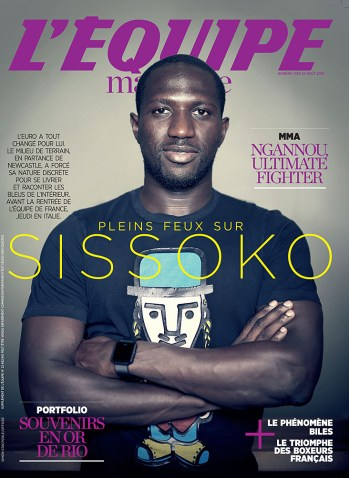 My portrait of Moussa Sissoko adorns the front cover of L'Equipe Magazine #1780