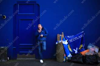 A Scotland fan smokes a cigarette before his side's World Cup Qualifier against Lithuania at Hampden Park in Glasgow