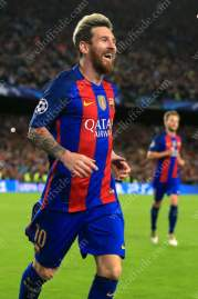 Lionel Messi of Barcelona celebrates after scoring their 3rd goal