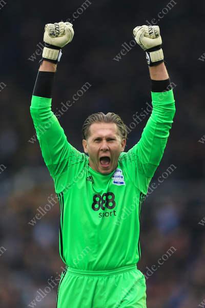 Birmingham goalkeeper Tomasz Kuszczak celebrates his side's equaliser