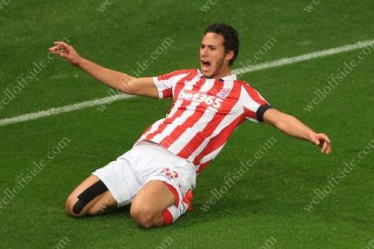 Ramadan Sobhi of Stoke celebrates after creating their 2nd goal against Swansea