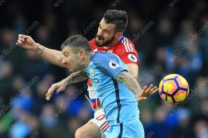Aleksandar Kolarov of Man City battles with Alvaro Negredo of Boro
