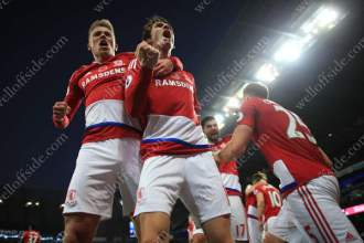 Marten de Roon of Boro (R) celebrates with teammate Viktor Fischer after scoring their winner