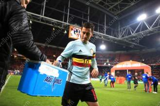 Eden Hazard of Belgium takes a drink before his side take on the Netherlands in a friendly match in Amsterdam