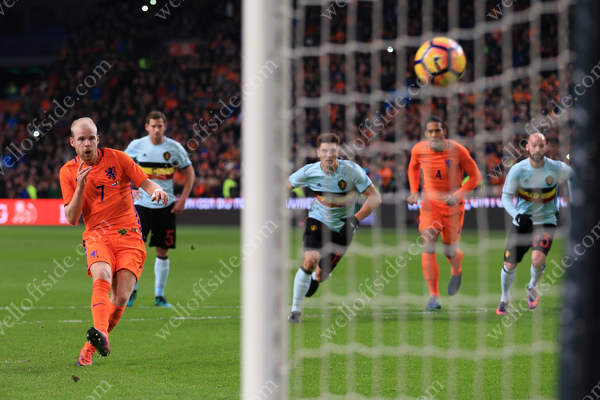 Davy Klaassen of Netherlands scores their 1st goal with a penalty