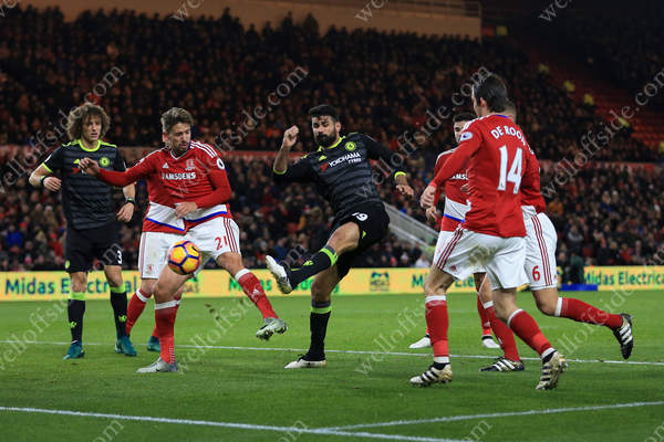 Diego Costa of Chelsea scores their 1st goal away to Middlesbrough in the Monday night game