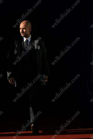 Man City manager Pep Guardiola emerges from the tunnel
