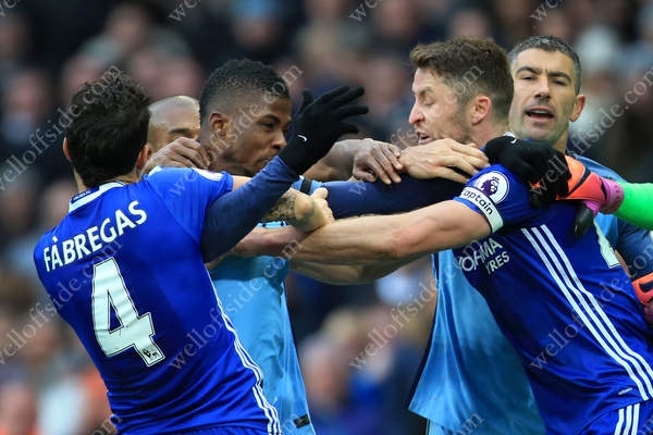 Kelechi Iheanacho of Man City squares up to Gary Cahill of Chelsea during the Premier League showdown at the Etihad Stadium