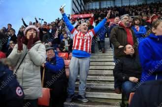Stoke fans celebrate their side's 1st goal