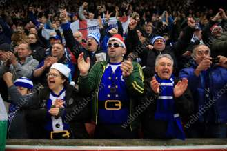 Leicester fans celebrate their draw