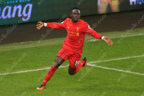 Sadio Mane of Liverpool celebrates after scoring their 1st goal