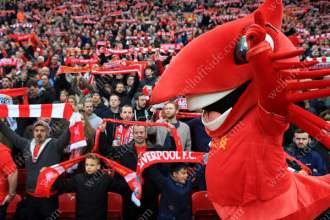 Liverpool mascot Mighty Red gets the crowd going before their FA Cup match at home to Plymouth Argyle