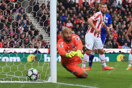 Stoke goalkeeper Lee Grant is beaten at his near post as Chelsea score their 1st goal in their Premier League encounter
