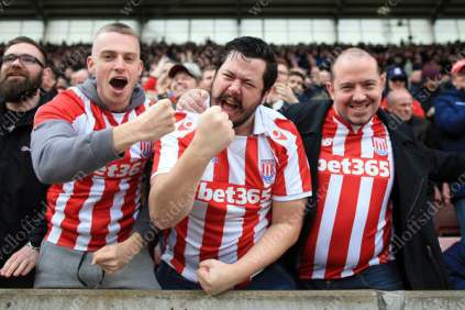 Stoke fans celebrate their side's equaliser