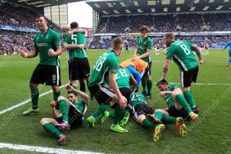 Euphoric Lincoln players celebrate their late winner
