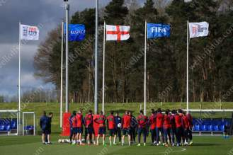 England players gather together before a training session at St. George's Park