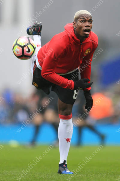 Paul Pogba of Man Utd controls the ball during the warm-up before their FA Cup 5th Round match against Blackburn Rovers