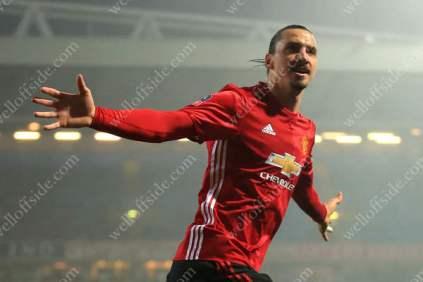 Zlatan Ibrahimovic of Man Utd celebrates after scoring their 2nd goal