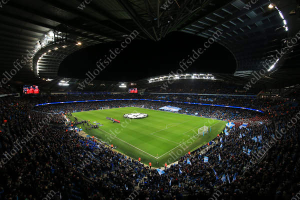 A general view of the Etihad Stadium before Man City's UEFA Champins League match against AS Monaco