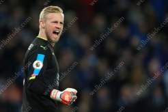 Leicester goalkeeper Kasper Schmeichel celebrates their 1st goal