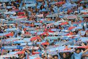 Celta Vigo fans hold their scarves aloft ahead of the UEFA Europa League Semi Final (2nd Leg) match against Man Utd