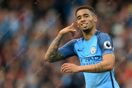 Gabriel Jesus of Man City celebrates after scoring their 1st goal against West Bromwich Albion