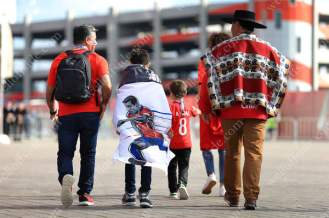 A group of Chile fans with a poncho and an Alexis Sanchez flag