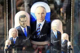 Souvenirs bearing the face of Russian President Vladimir Putin are amongst those for sale on a stall in Saint Petersburg
