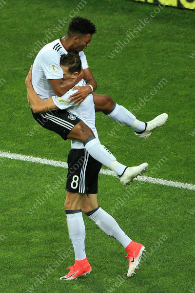 Leon Goretzka of Germany celebrates with teammate Benjamin Henrichs after scoring their 2nd goal
