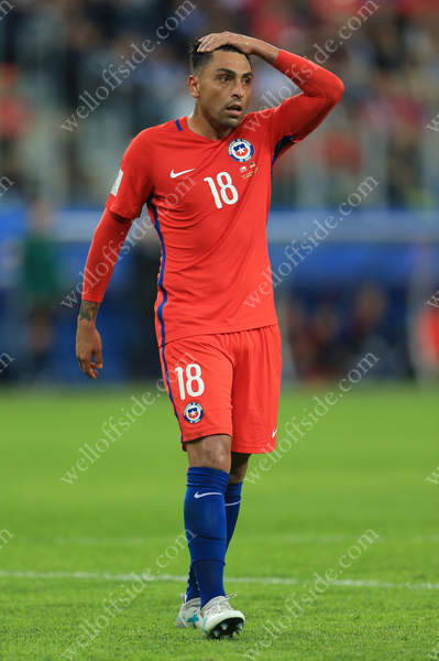 Gonzalo Jara of Chile looks dejected