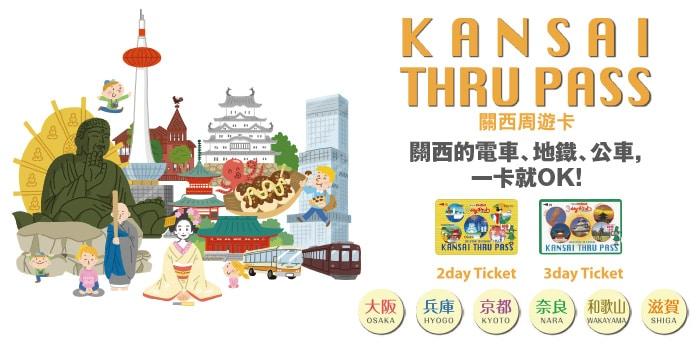 日本鐵路周遊券 私鐵:關西周遊券 Kansai Thru Pass