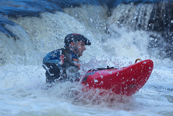 Off the ledge at Mill Falls on the River Usk.