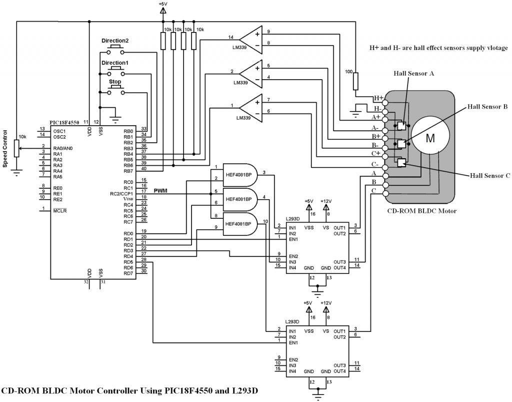 Cd Rom Bldc Motor Controller Using Pic18f And L293d