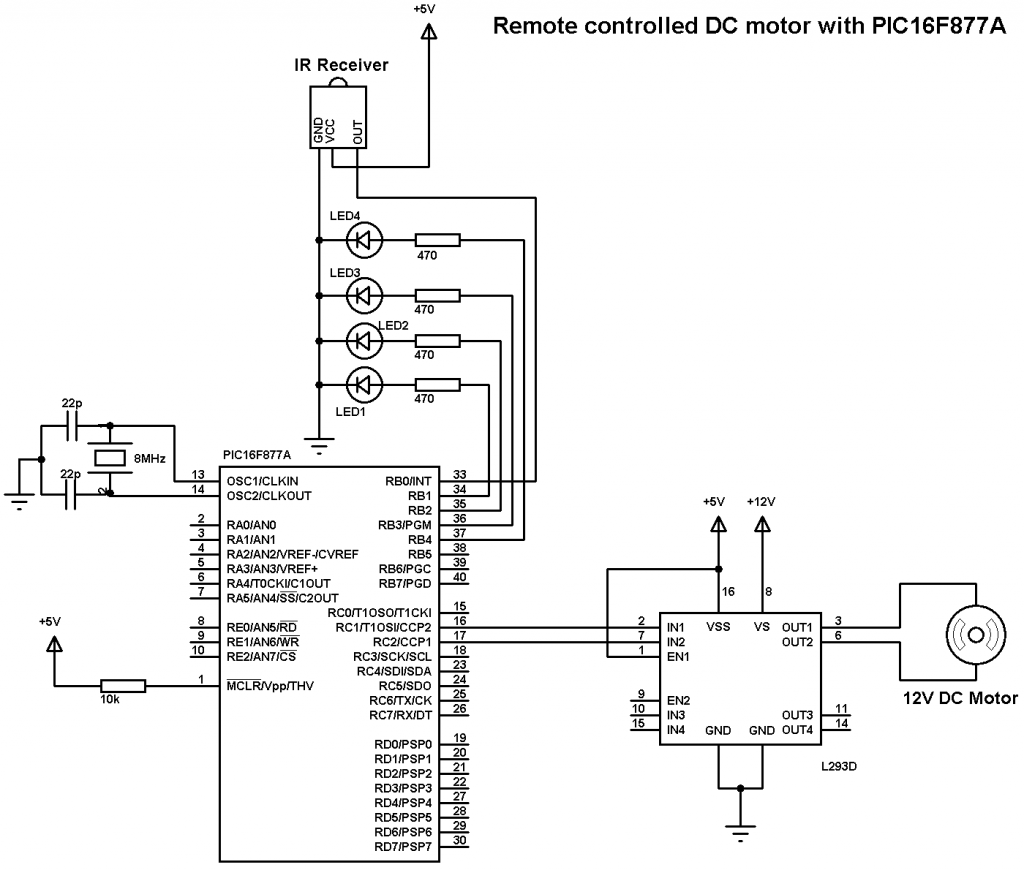 Remote Controlled Dc Motor Using Pic16f877a And Ccs C