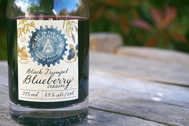 black trumpet blueberry cordial