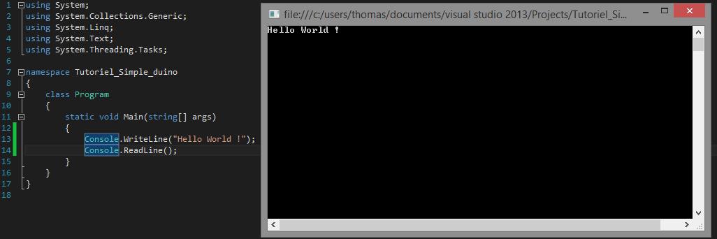Premier programme C# executé
