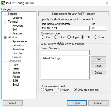 Fenêtre de connextion SSH via Putty