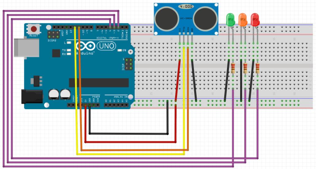 Capteur ultrason + Led + Arduino