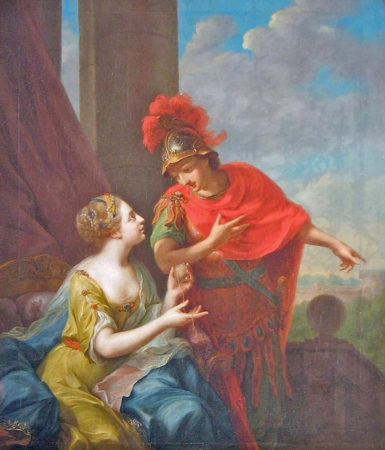 Ariadne giving Theseus the red threat to retrace the Minotaur's labyrinth
