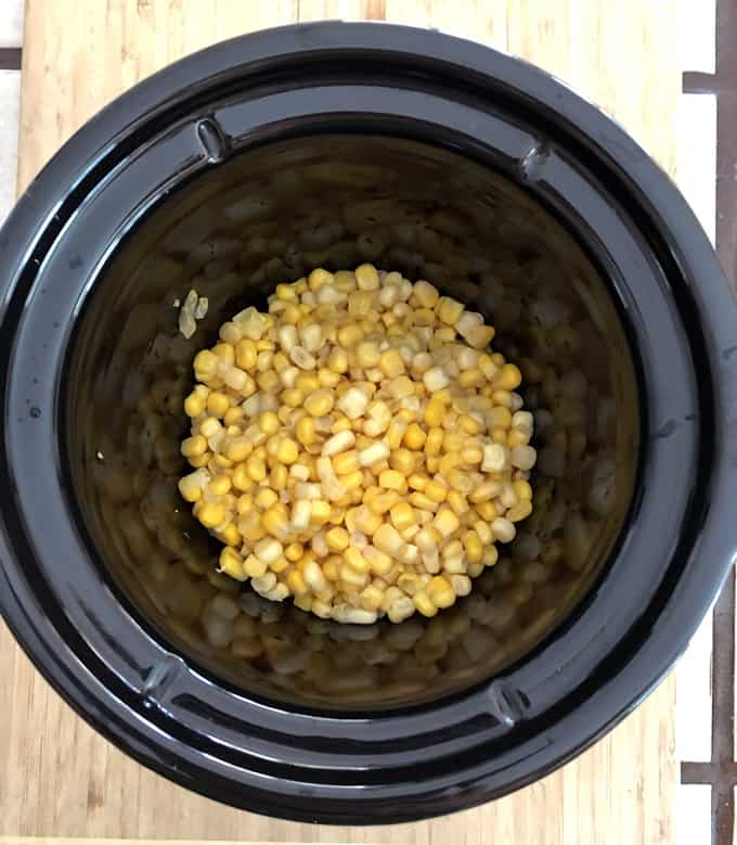 Drained canned corn in crock pot.