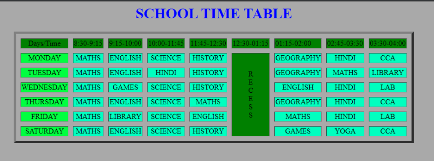 time table design in html