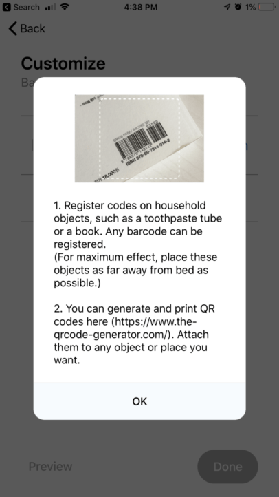 Alarmy-Barcodes and QR codes