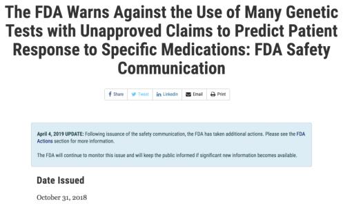 FDA warning genetic tests