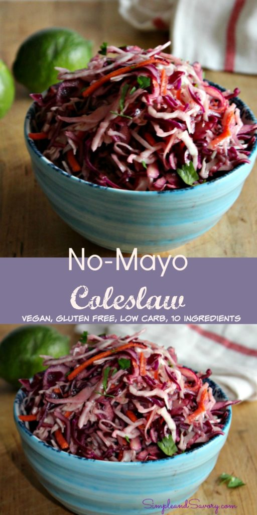 No Mayo Cole Slaw vegan, gluten free, 10 ingredients simpleandsavory.com