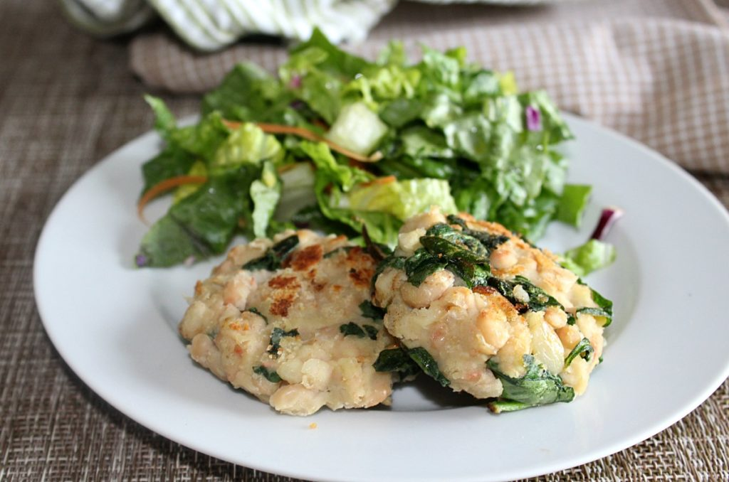 White Bean Burgers made with garlic, spinach Simple and Savory