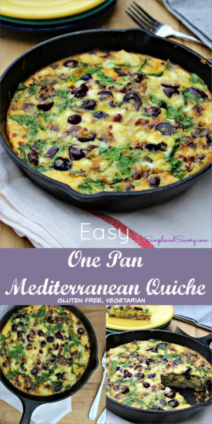 Easy Mediterranean Quiche Vegetarian, gluten free Simple and Savory.com