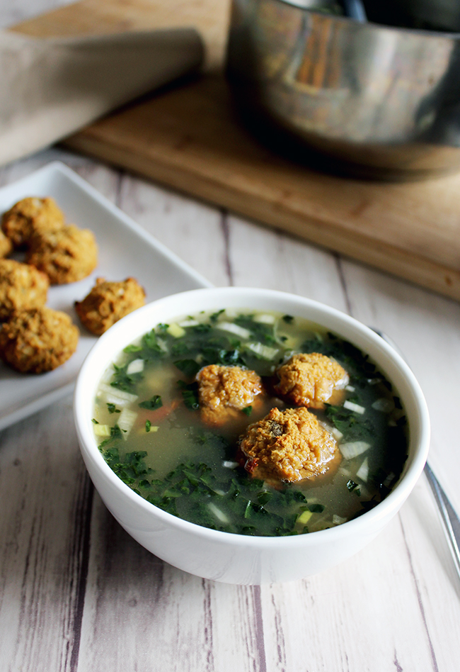 Tuscan vegetable soup with white bean balls main