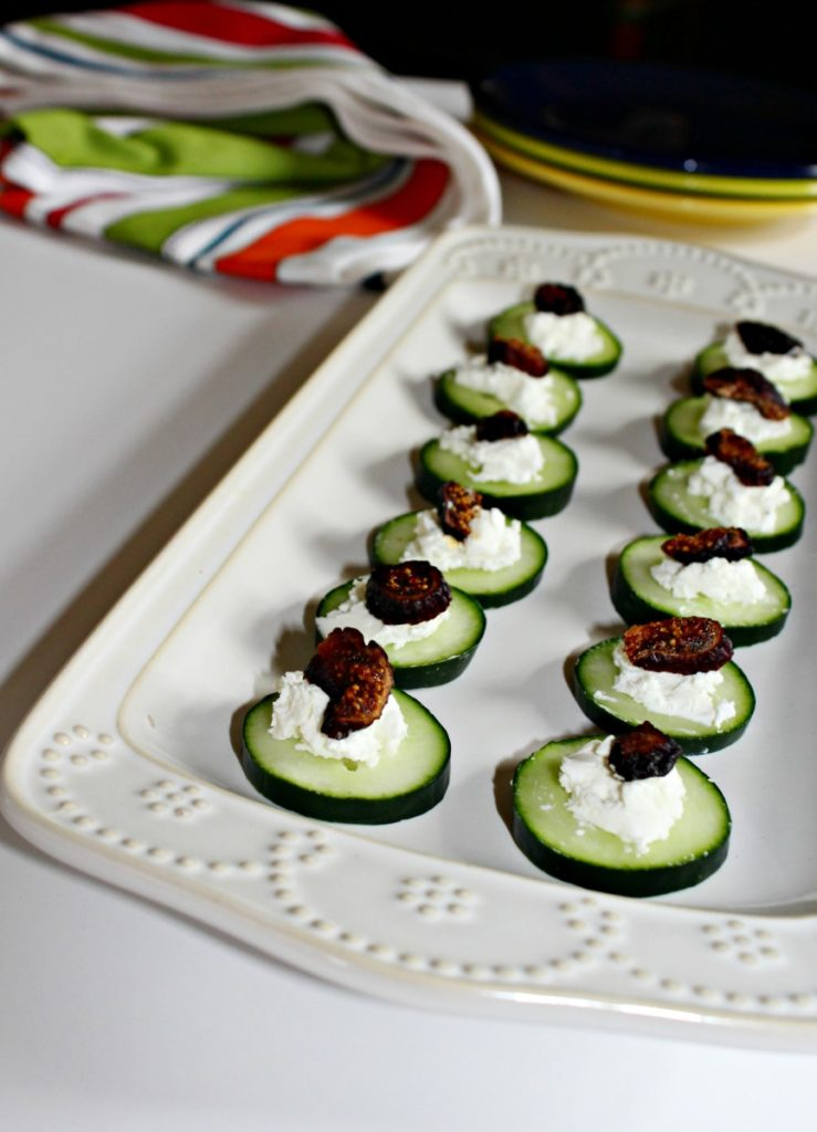 Cucumber goat cheese appetizers tea sandwiches without the bread Simple and Savory
